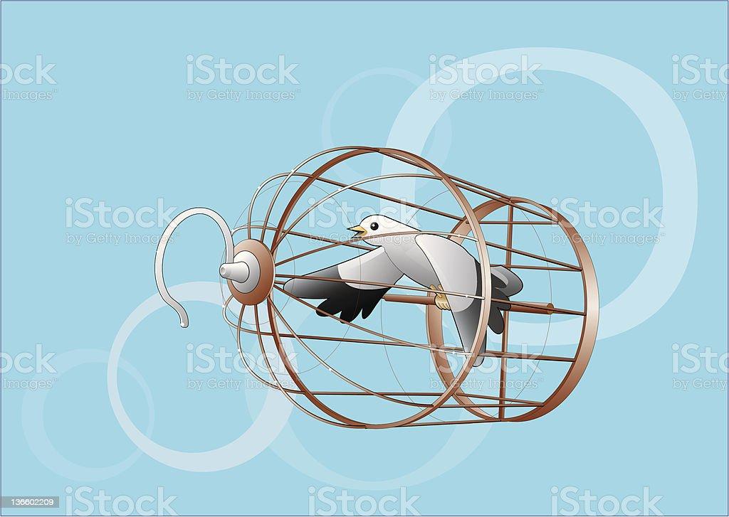 Bird flies in the cage royalty-free stock vector art