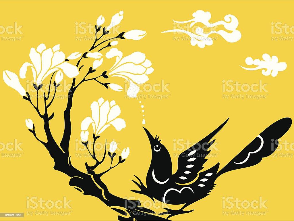 Bird, Flower & Cloud royalty-free stock vector art