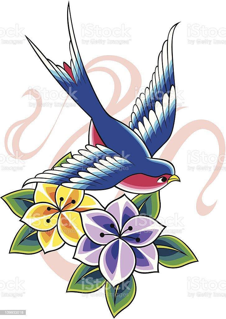 Tatuaggio fiore di uccello foto stock royalty-free