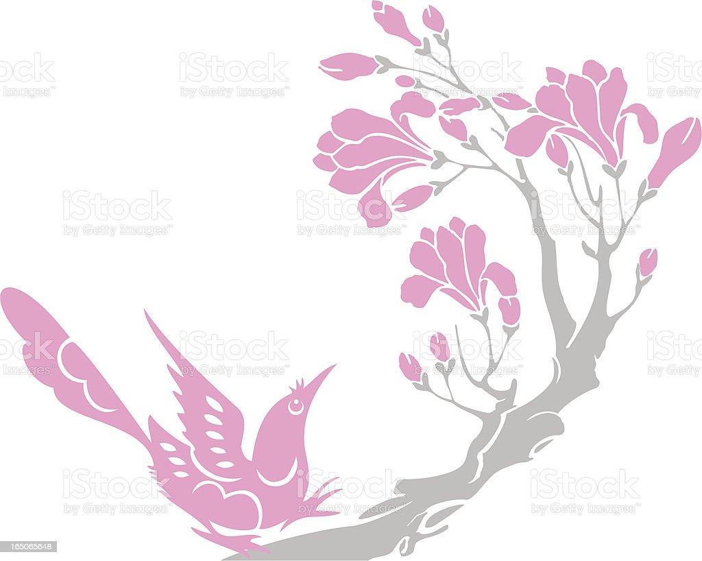 Bird & Flower royalty-free stock vector art