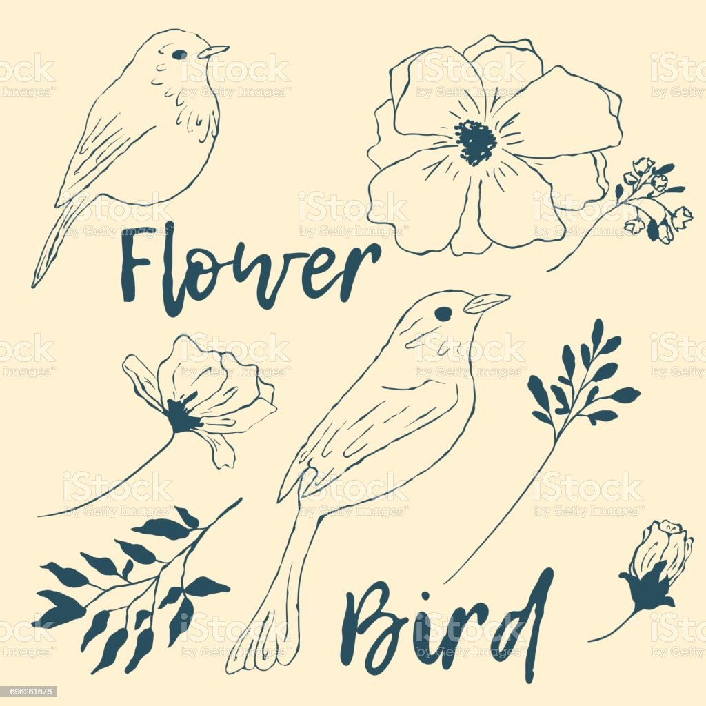 Bird, flowers, branches, leaves on a beige background. vector art illustration