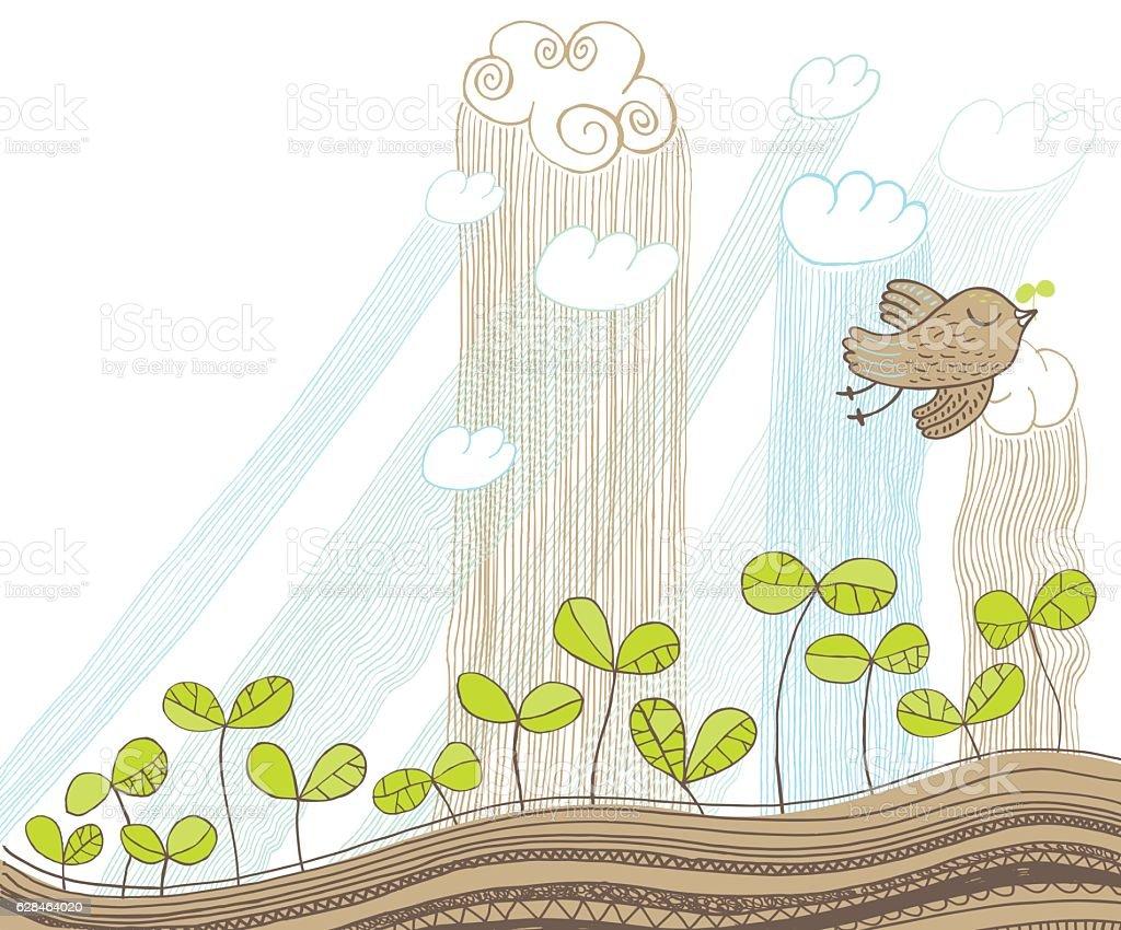 Bird flying over spring shoots in the rain vector art illustration