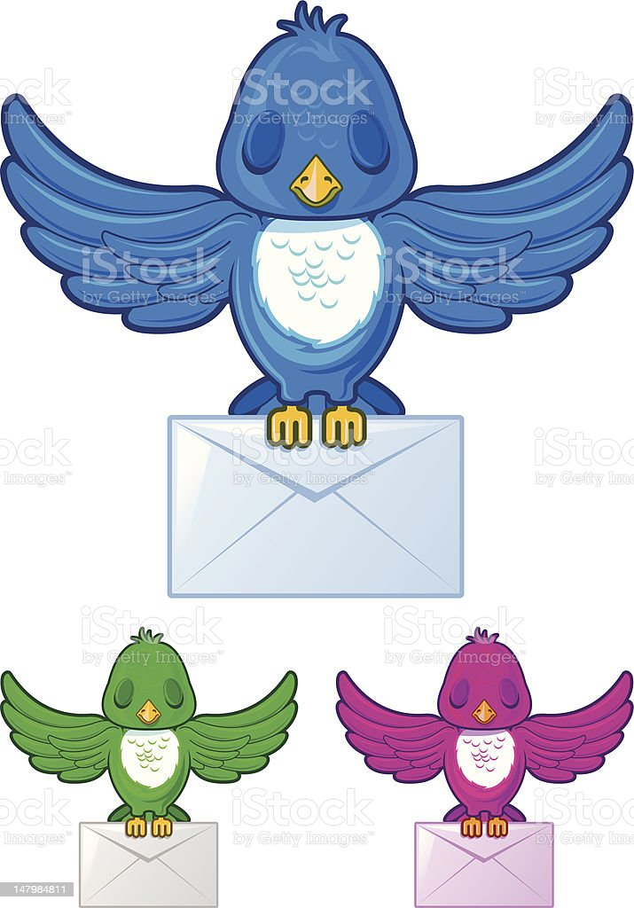Bird flying with envelope mail in three different colors royalty-free stock vector art