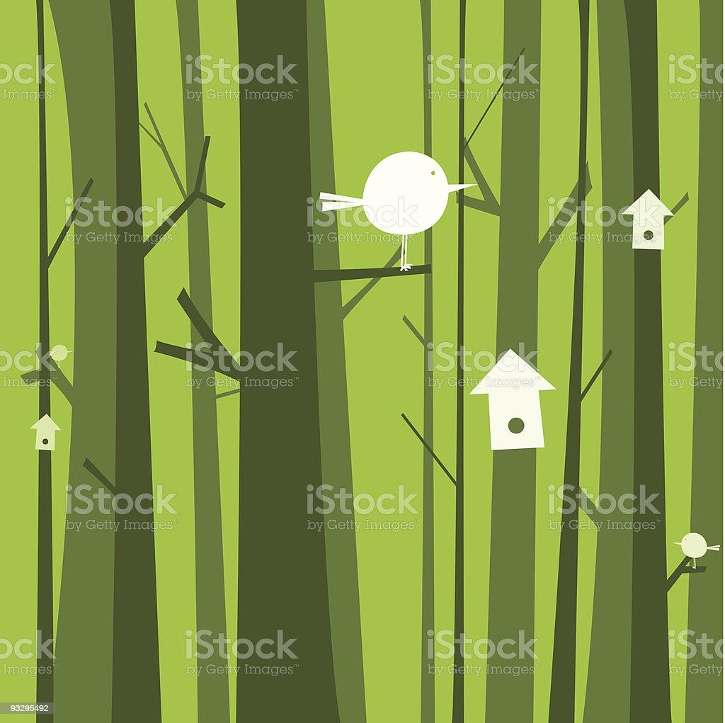 Bird forest royalty-free stock vector art
