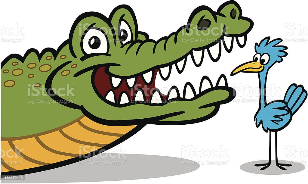 Bird Giving Crocodile Dental Check Up vector art illustration