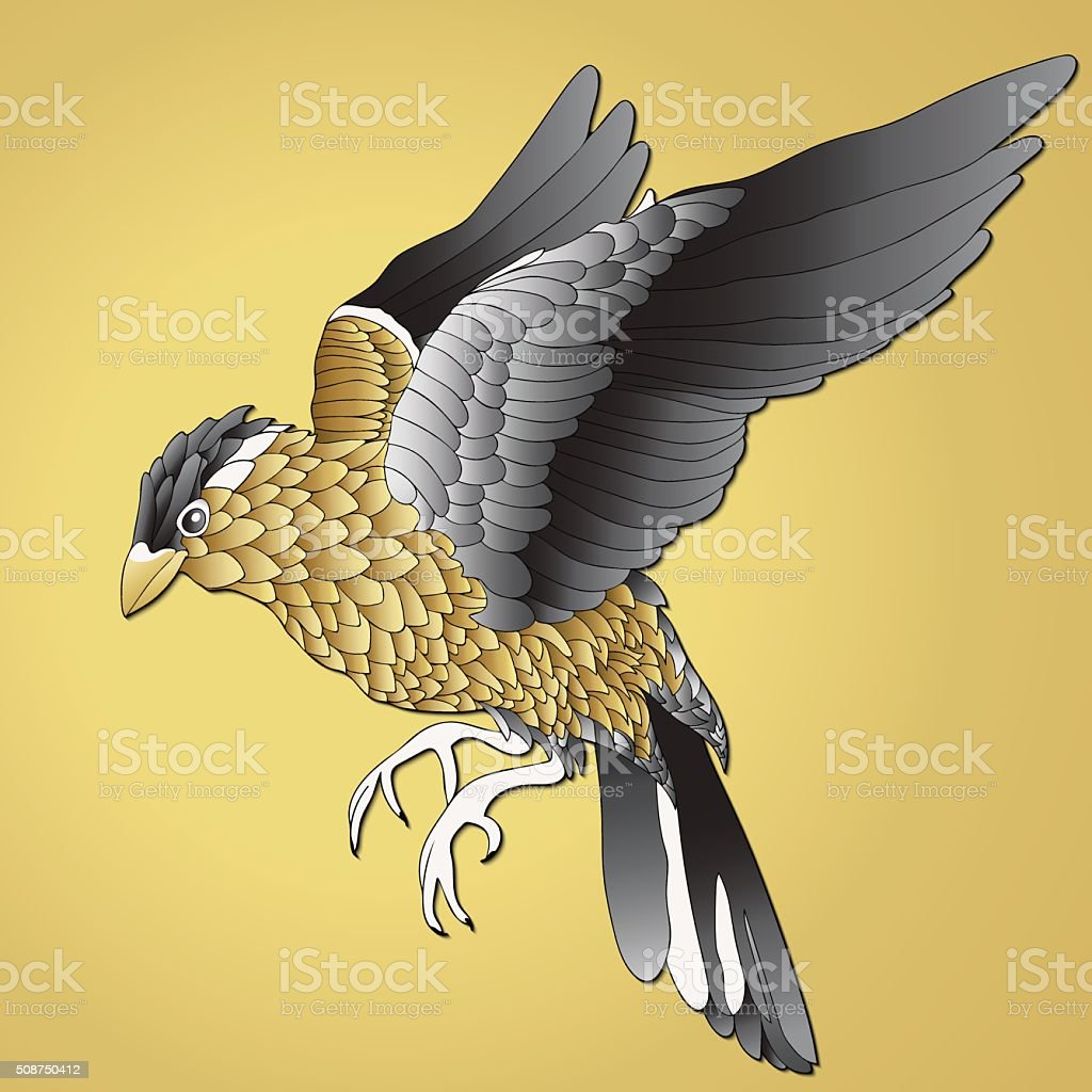 Bird gold. Bird soars with yellow and black feathers royalty-free stock vector art