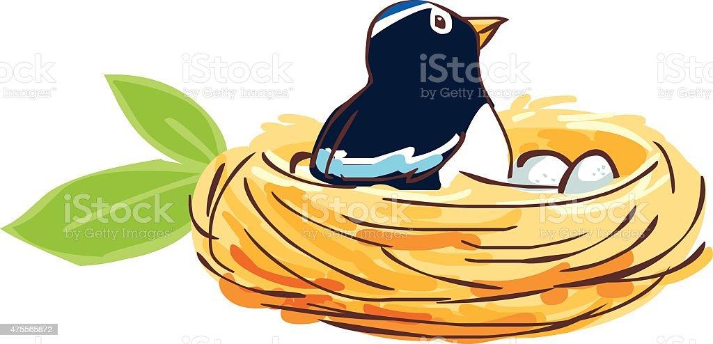 Bird hatch her egg in nest vector vector art illustration