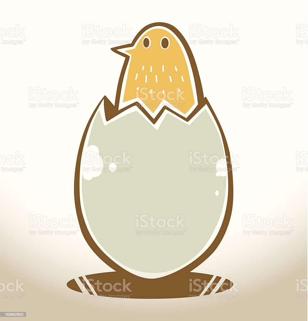 Bird hatched from an egg vector art illustration