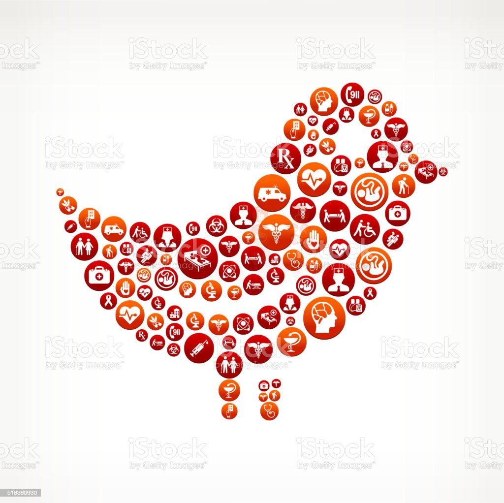Bird Healthcare and Medical Red Button Pattern vector art illustration