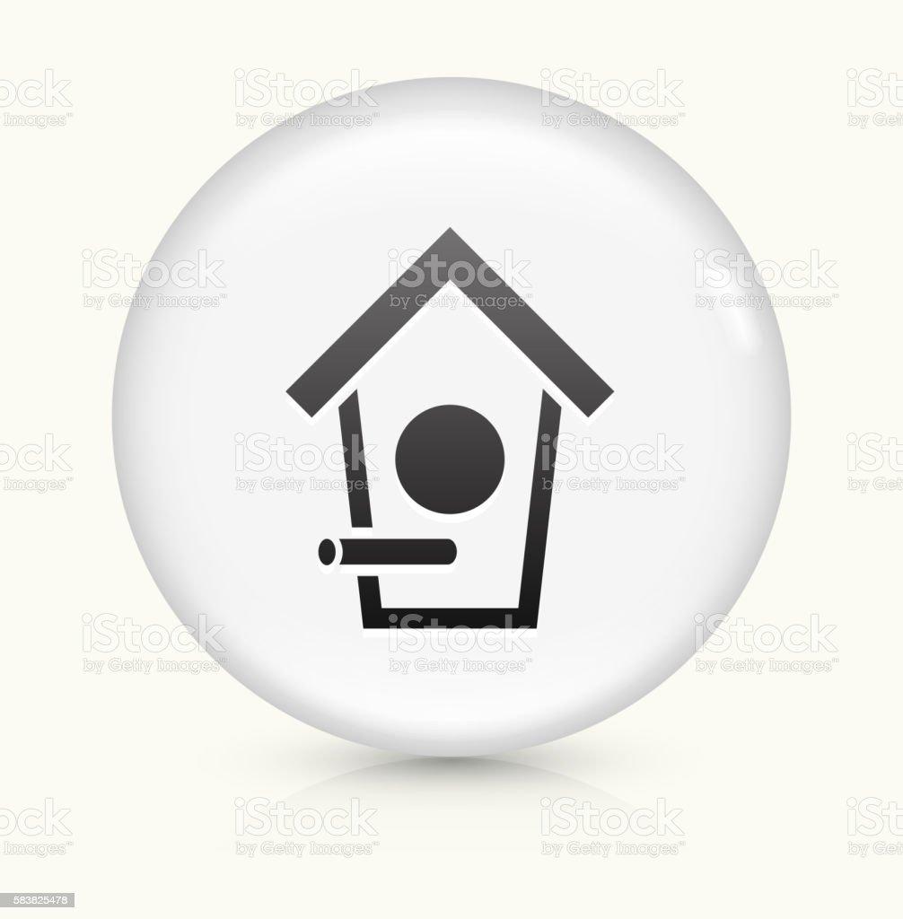 Bird House icon on white round vector button vector art illustration