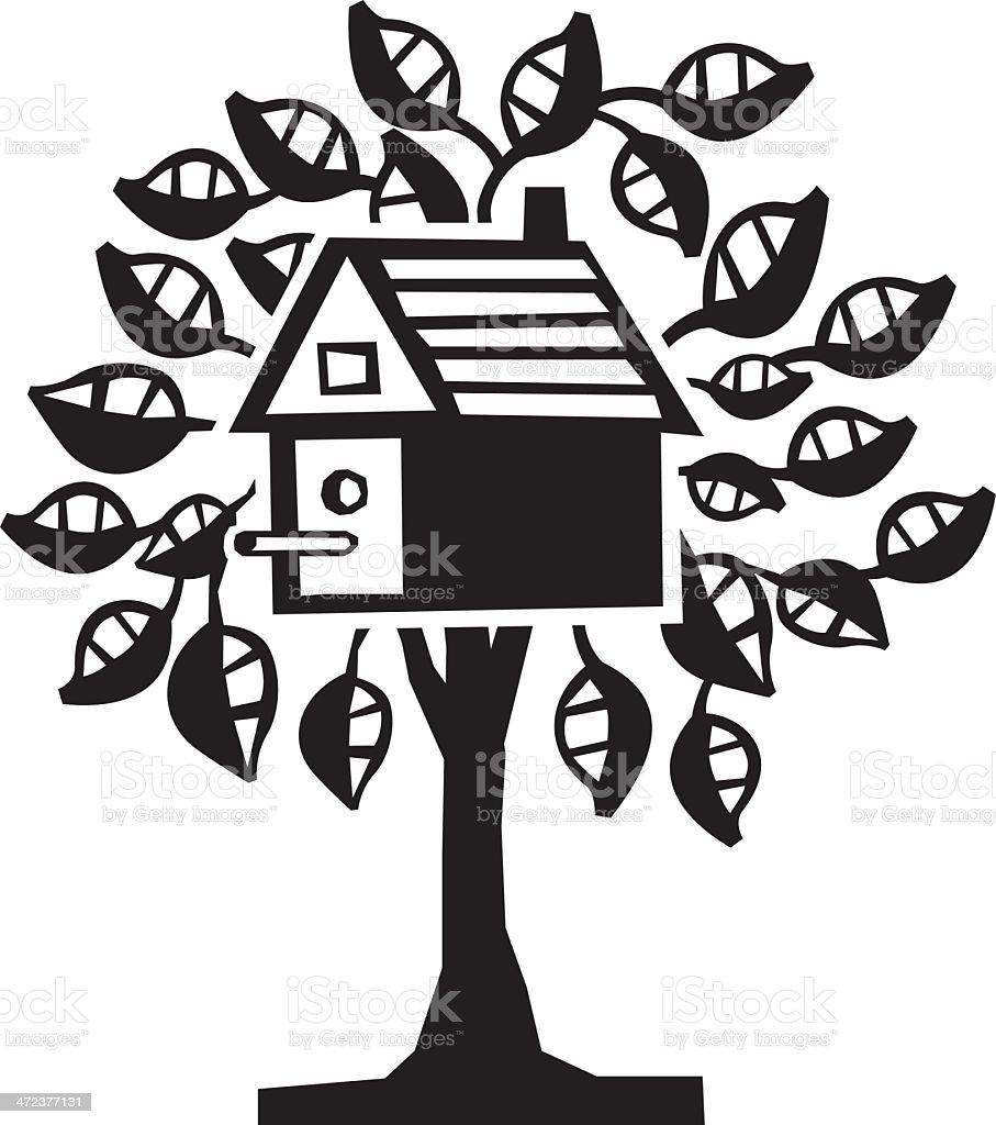 Bird House One-Color vector art illustration