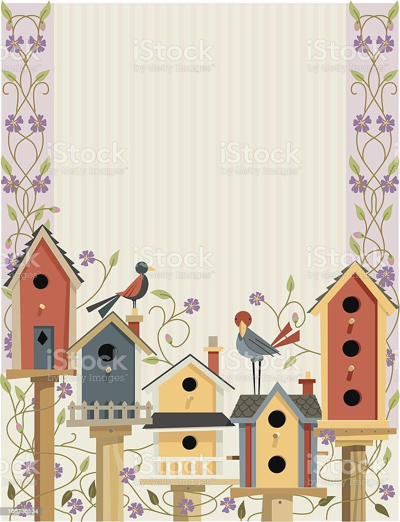 Bird Houses in Garden Border vector art illustration