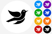 Bird Icon on Flat Color Circle Buttons