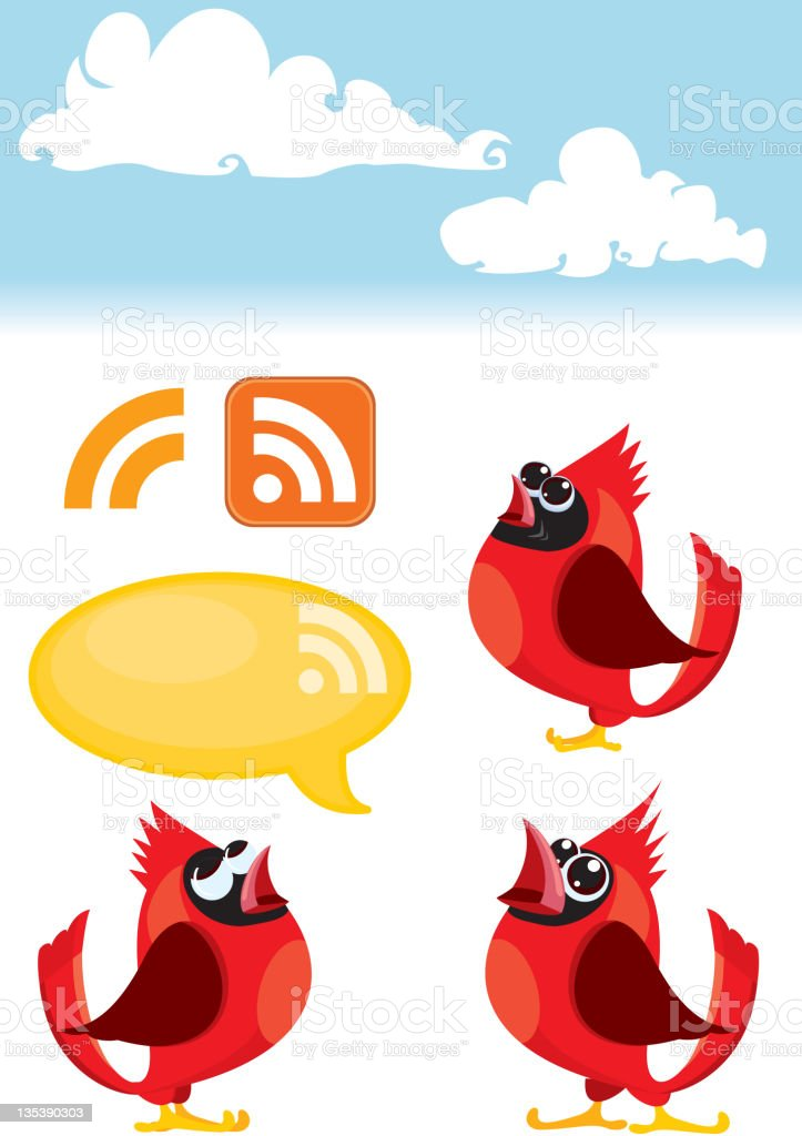 Bird Icon set, Talking Cardinal Birds and RSS symbol royalty-free stock vector art