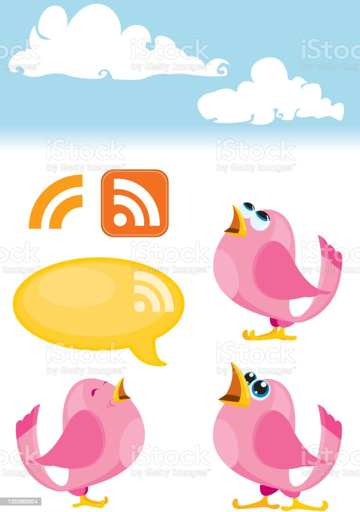 Bird Icon set, Talking Pink birds and RSS symbol royalty-free stock vector art