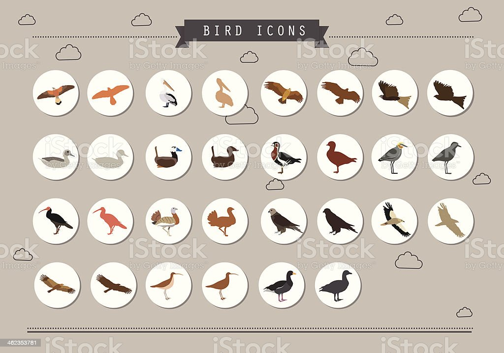 Bird Icon Set vector art illustration
