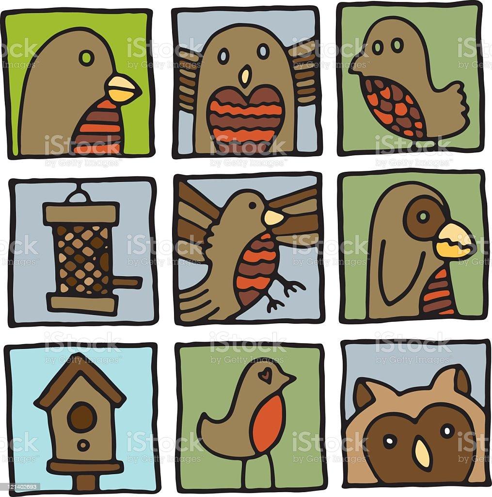 Bird Icons vector art illustration