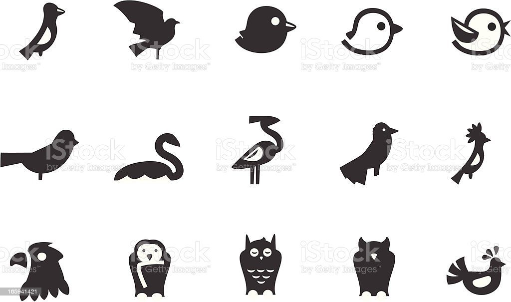 Bird Icons vector art illustration
