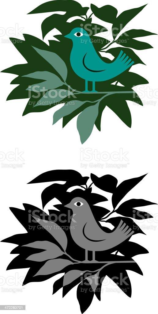 Bird in a bush vector art illustration