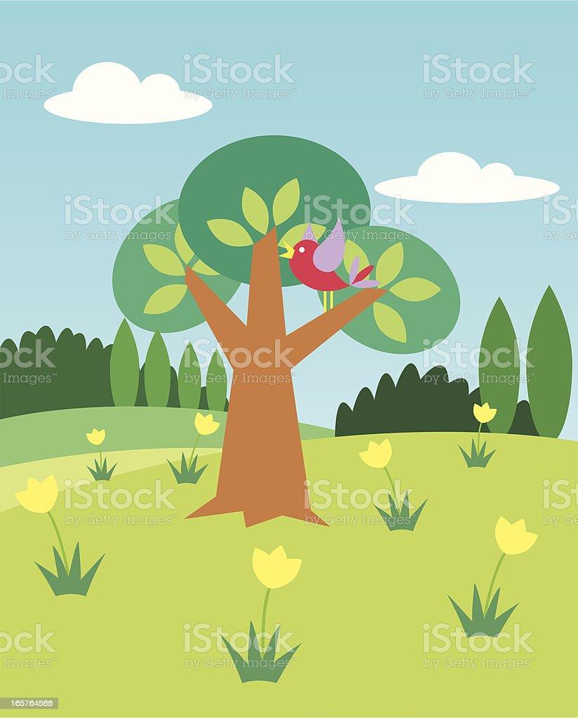 Bird in a tree royalty-free stock vector art
