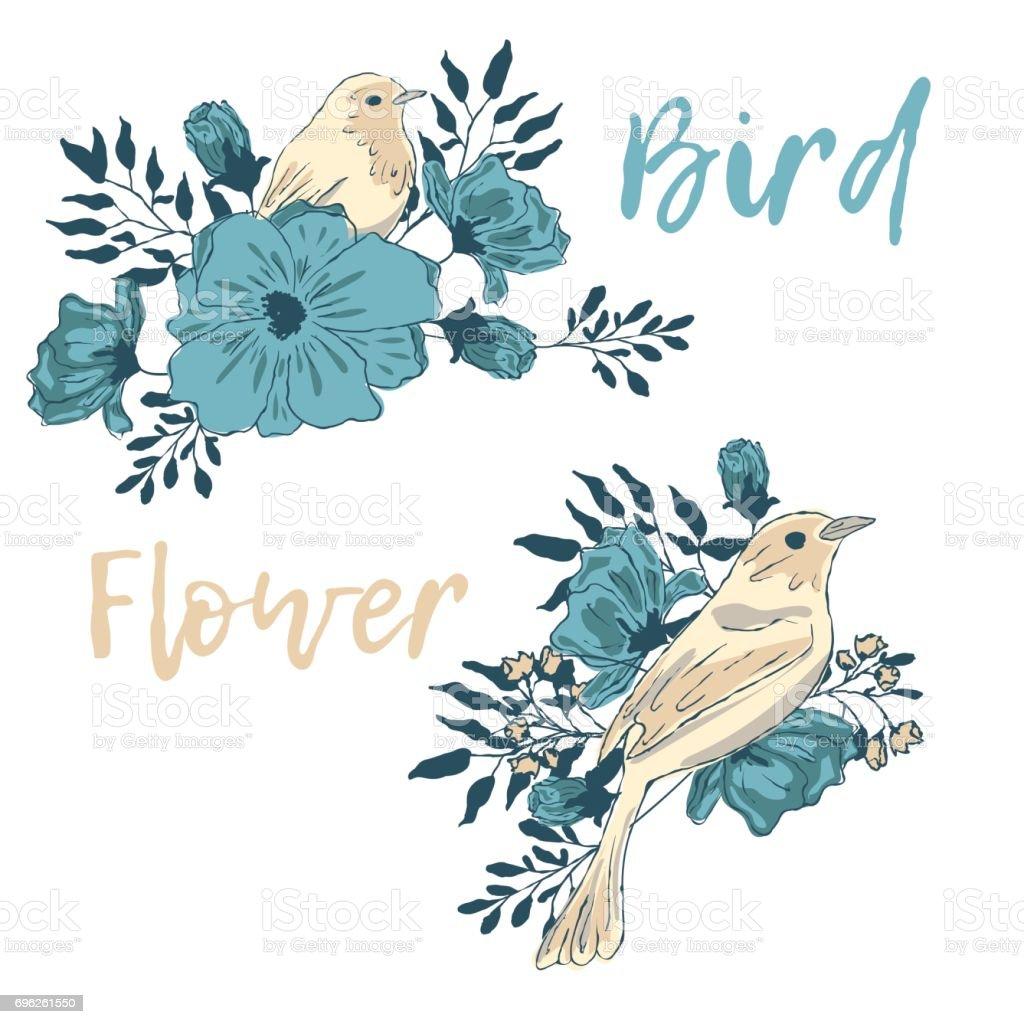 Bird in blue flowers.  Graphic print t-shirt. vector art illustration