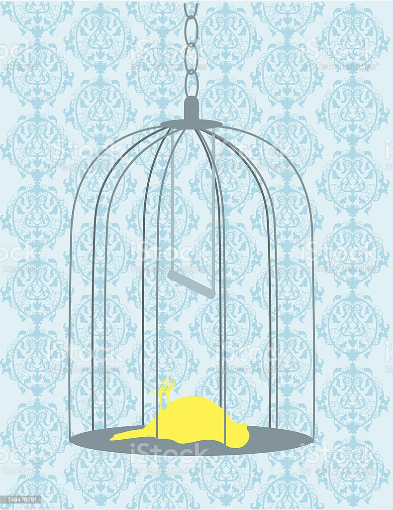 Bird in Cage Dead vector art illustration