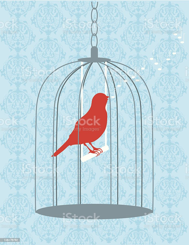 Bird in Cage Singing royalty-free stock vector art