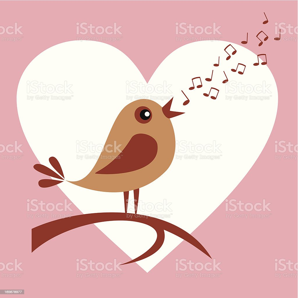 Bird in love vector art illustration