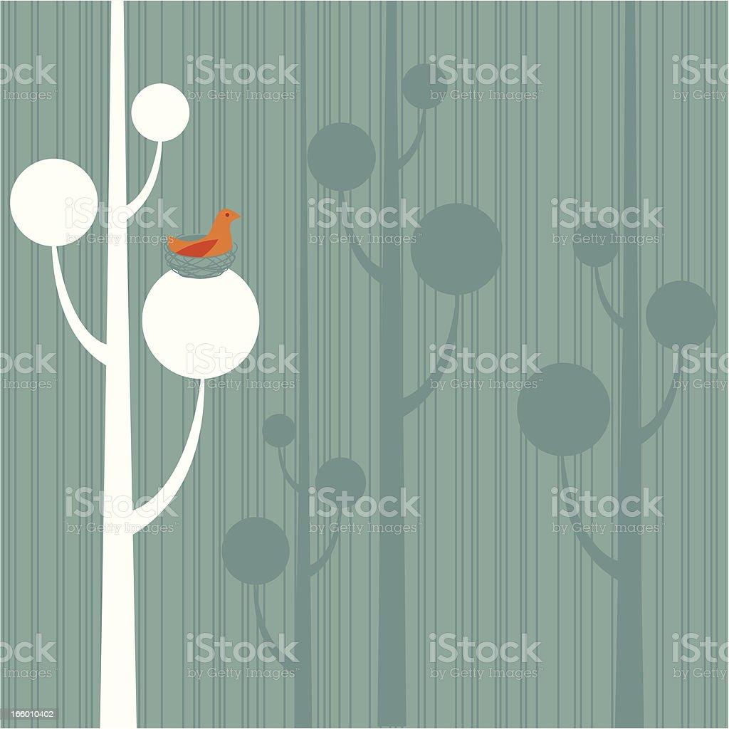 Bird in Nest Background royalty-free stock vector art