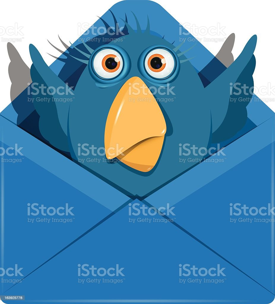 Bird in the envelope vector art illustration