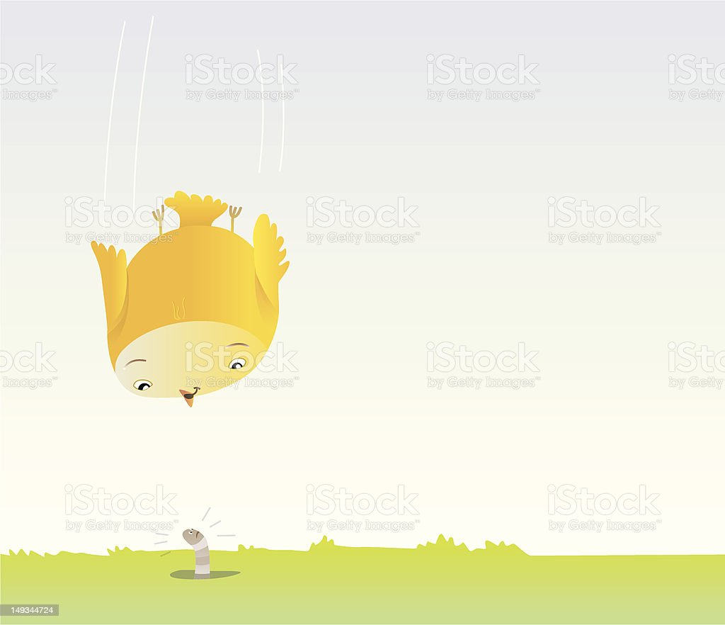 bird is nosediving to a worm. royalty-free stock vector art