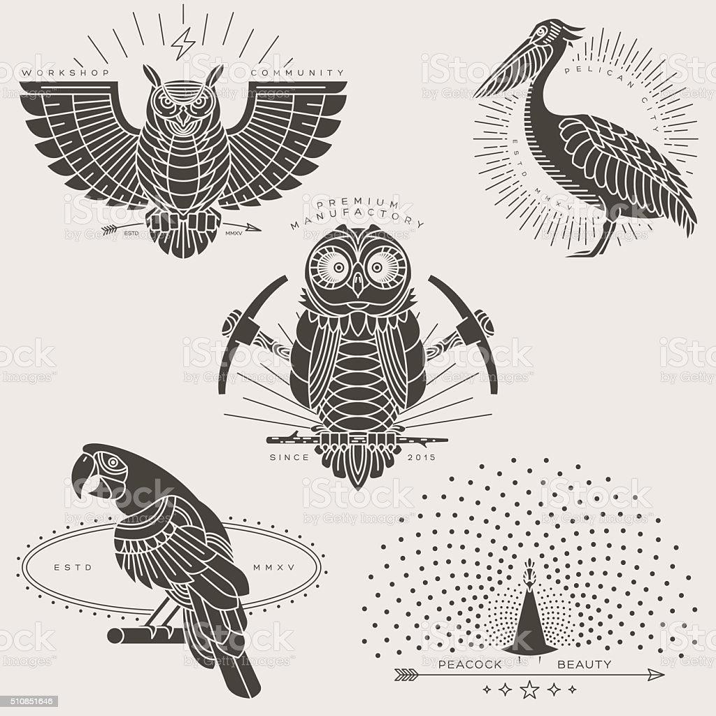 bird labels vector art illustration