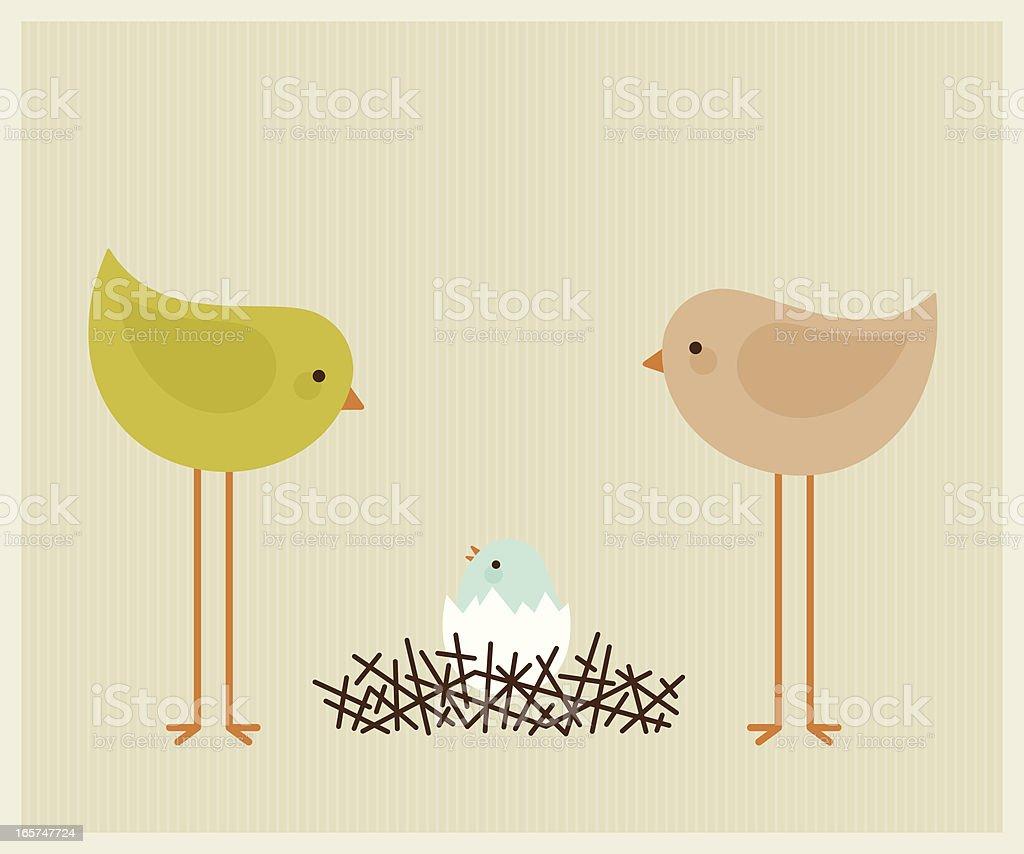 Bird Nest Baby royalty-free stock vector art