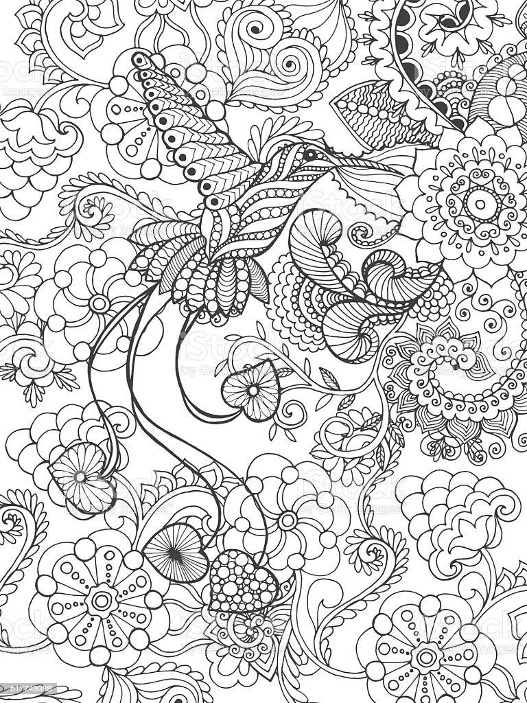 Bird of paradise in fantasy garden vector art illustration