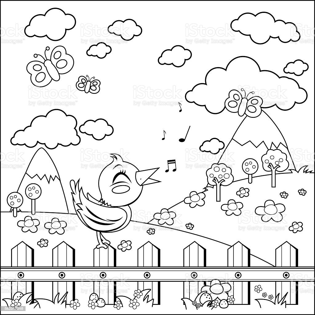 Bird on a fence in the countryside. Coloring book page vector art illustration