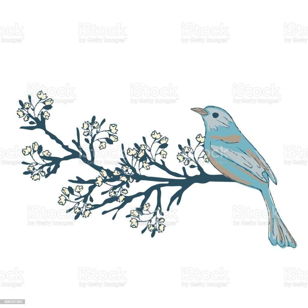 Bird on a flowering branch of a tree. vector art illustration