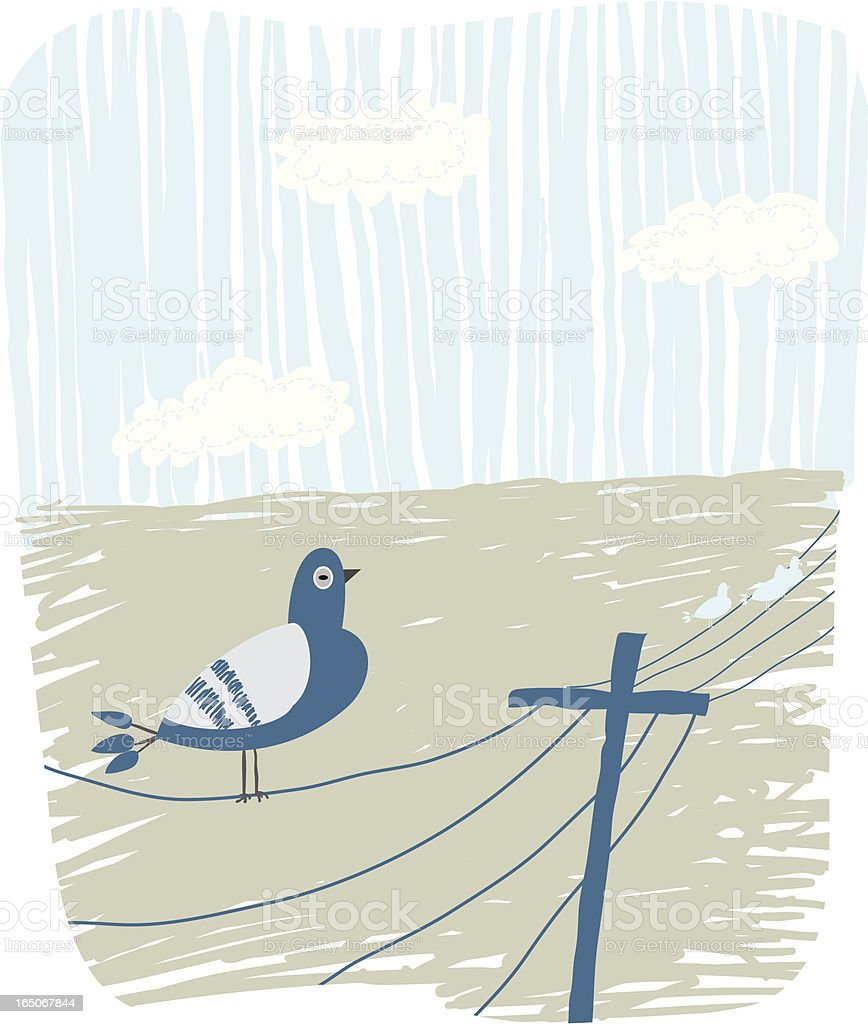 Bird on a Wire royalty-free stock vector art