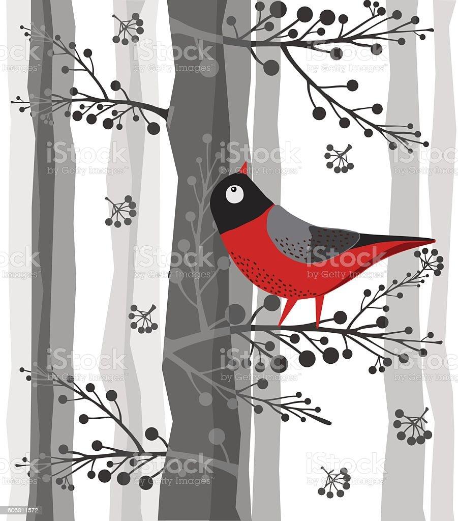 Bird On Branch, Sitting on the tree, Forest, Winter vector art illustration