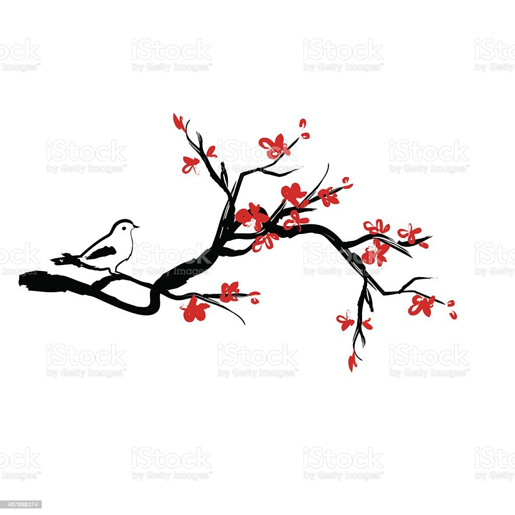 Bird on cherry blossoms branches vector art illustration