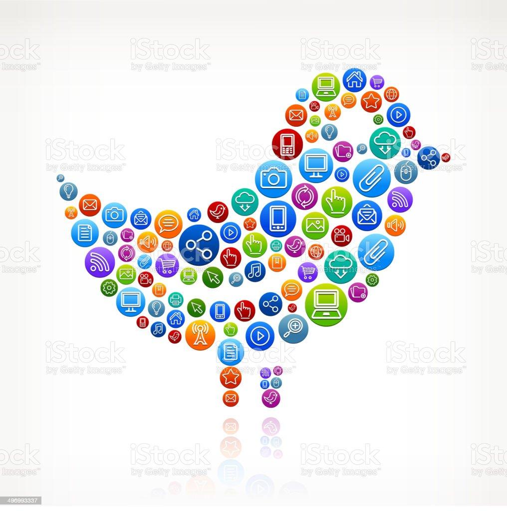 Bird on Social Networking & Internet Color Buttons vector art illustration