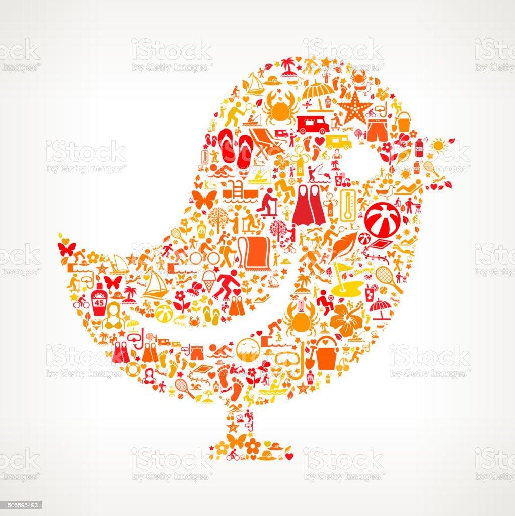 Bird on Summer royalty free vector art Pattern royalty-free stock vector art
