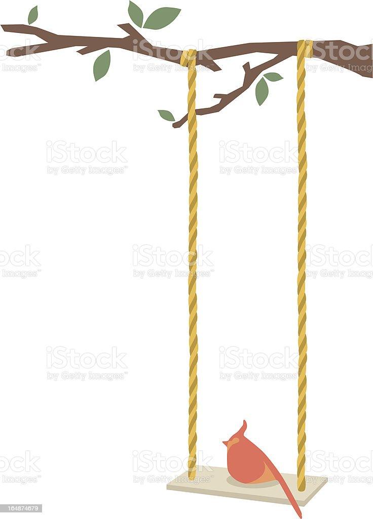 Bird on swing vector art illustration