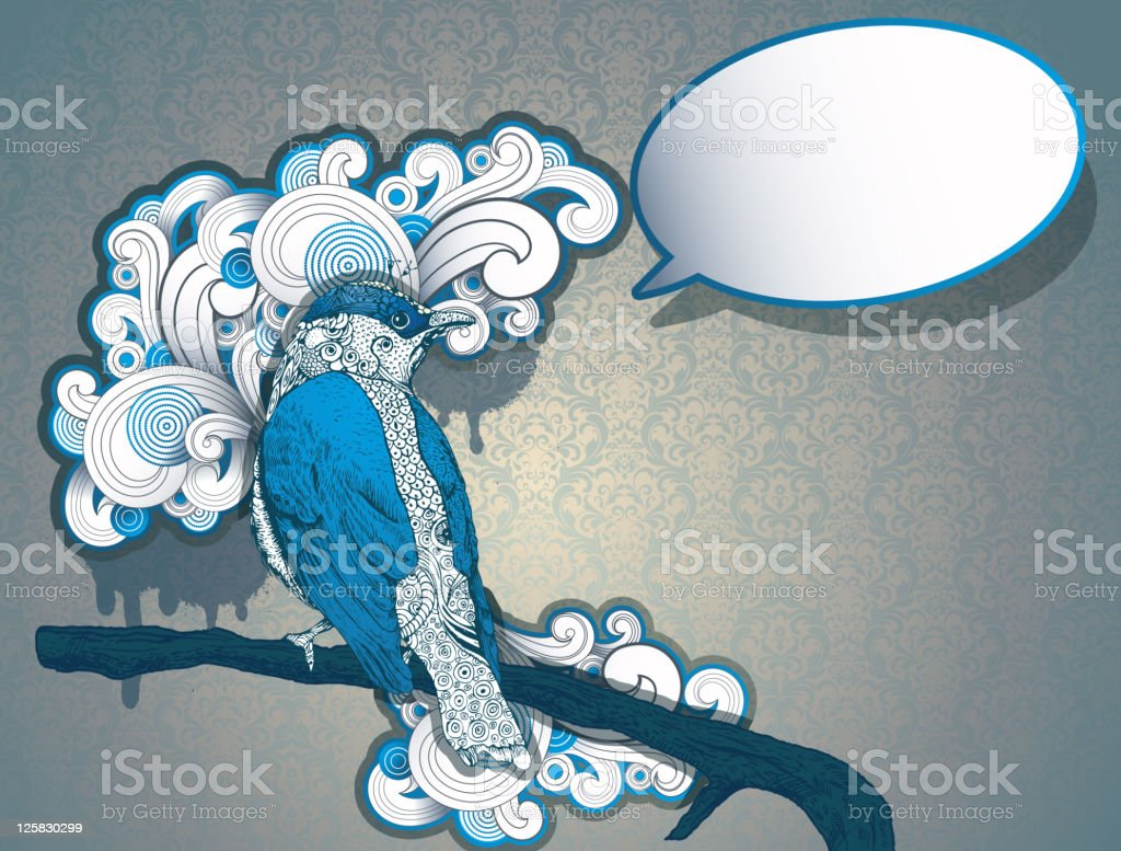 Bird on the branch with speech bubble. royalty-free stock vector art