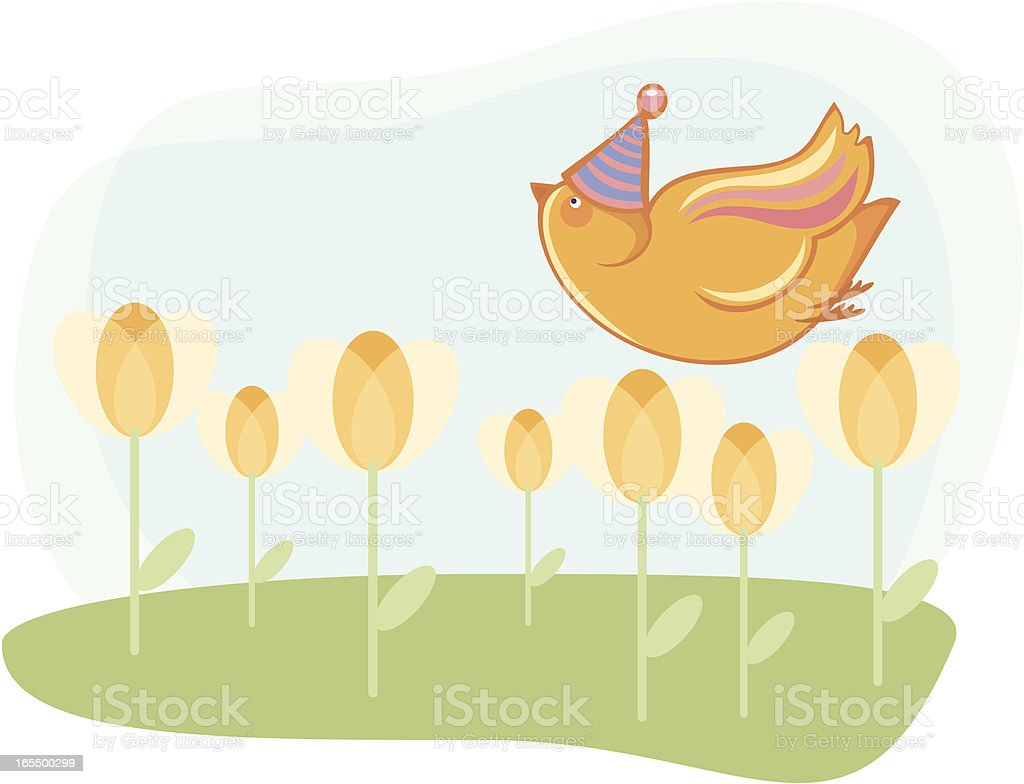 Bird overflying a field of tulips royalty-free stock vector art