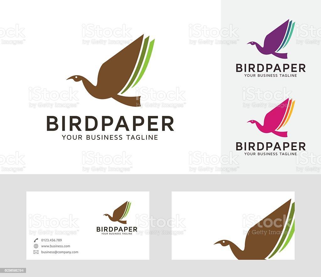 Bird Paper vector logo vector art illustration