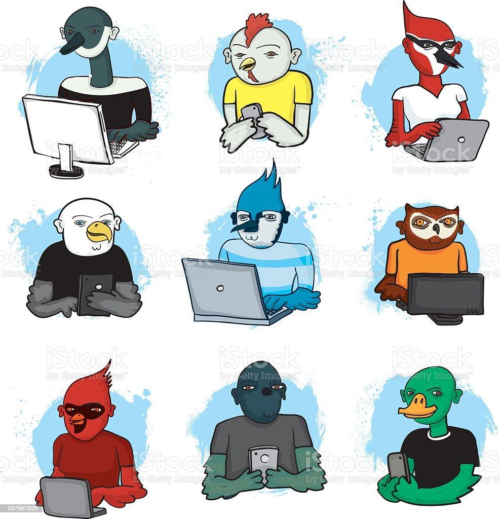 Bird People Social Media vector art illustration
