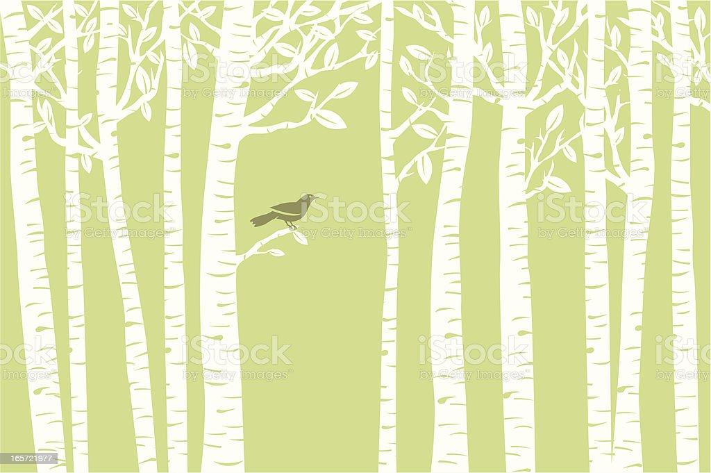 Bird Perch (Green) vector art illustration
