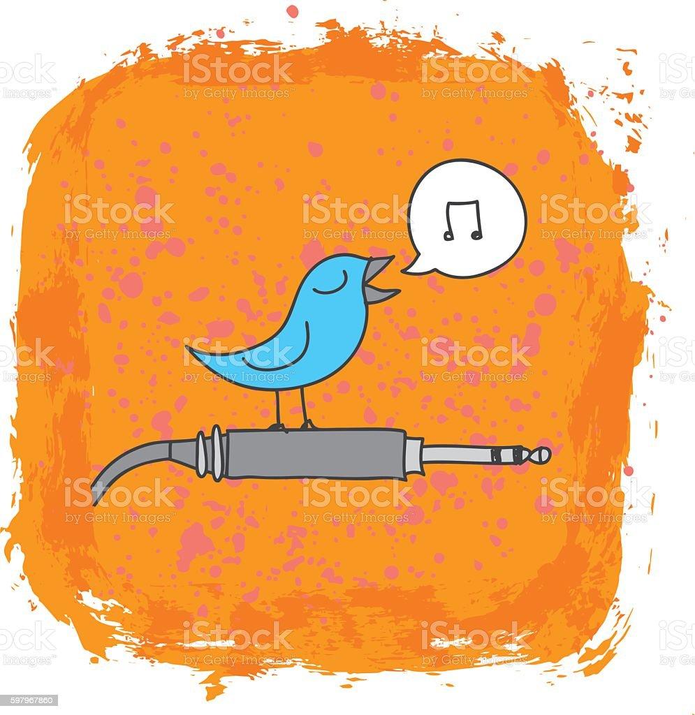 Bird Perched on Audio Cord vector art illustration