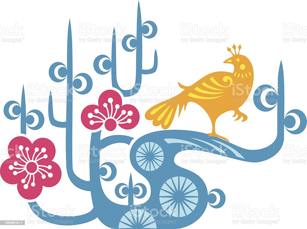 Bird & Plum Blossom royalty-free stock vector art