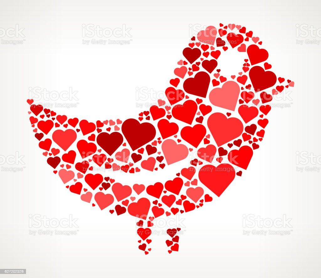 Bird Red Hearts Love Pattern vector art illustration